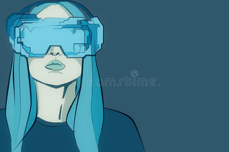 Virtual reality concept. Abstract blue drawing of young woman with futuristic glasses on plain background. Virtual reality concept. 3D Rendering vector illustration