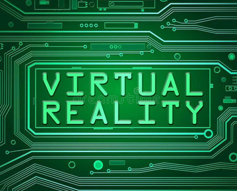 Virtual reality concept. Abstract style illustration depicting printed circuit board components with a virtual reality concept stock illustration