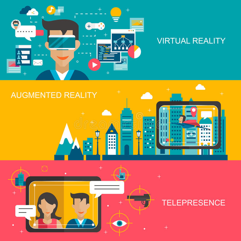 Virtual reality concept. Banners set in flat design stock illustration