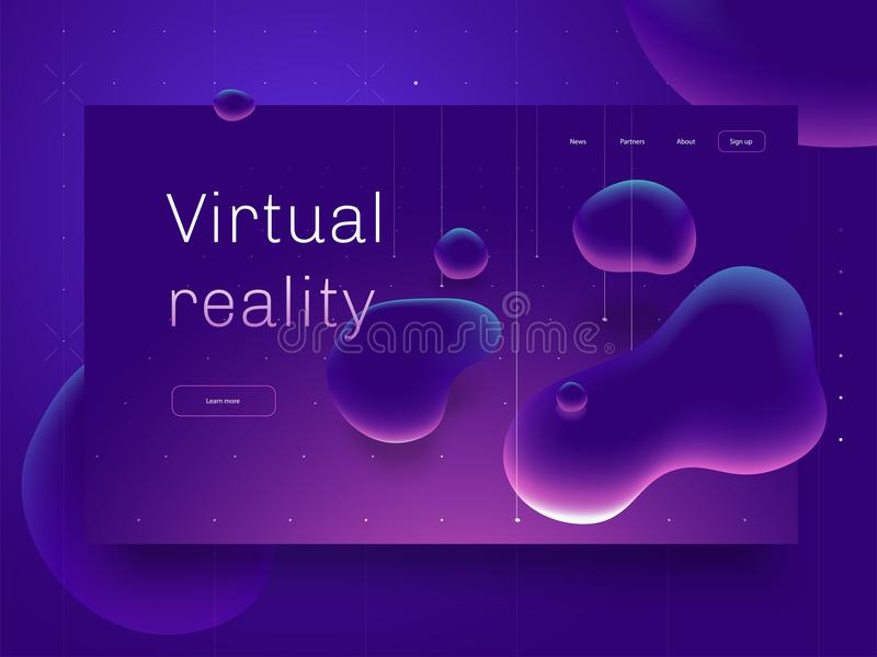 Virtual reality concept. 3d abstract bubble shapes flying above surface. Landing page template. 3d vector illustration. stock illustration