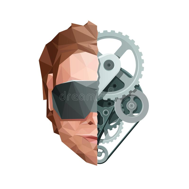 Virtual Reality Concept. Face with Glasses and Gears vector illustration