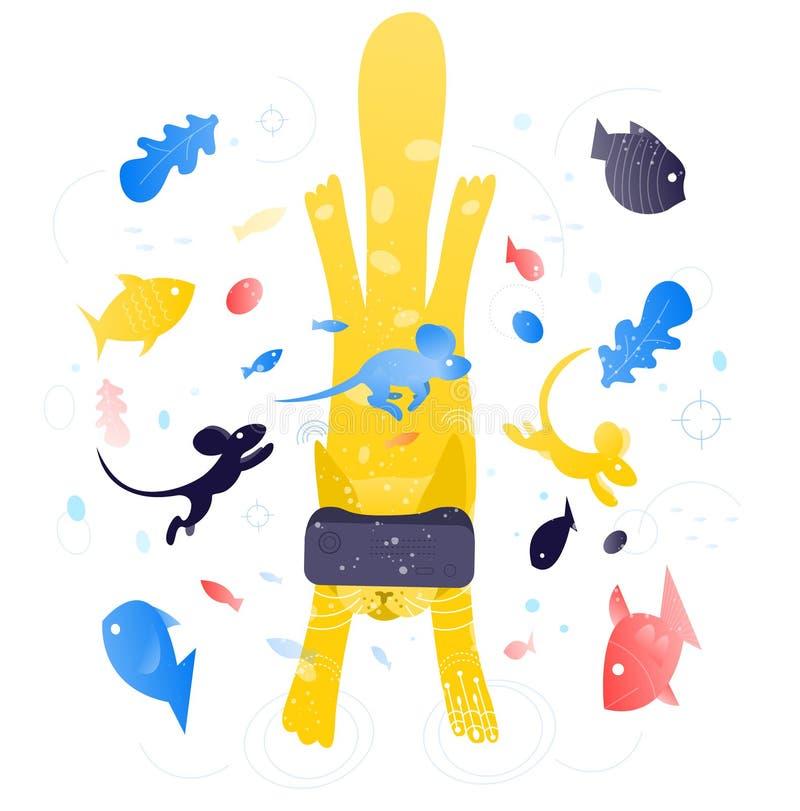 Virtual reality cat concept illustration vector illustration