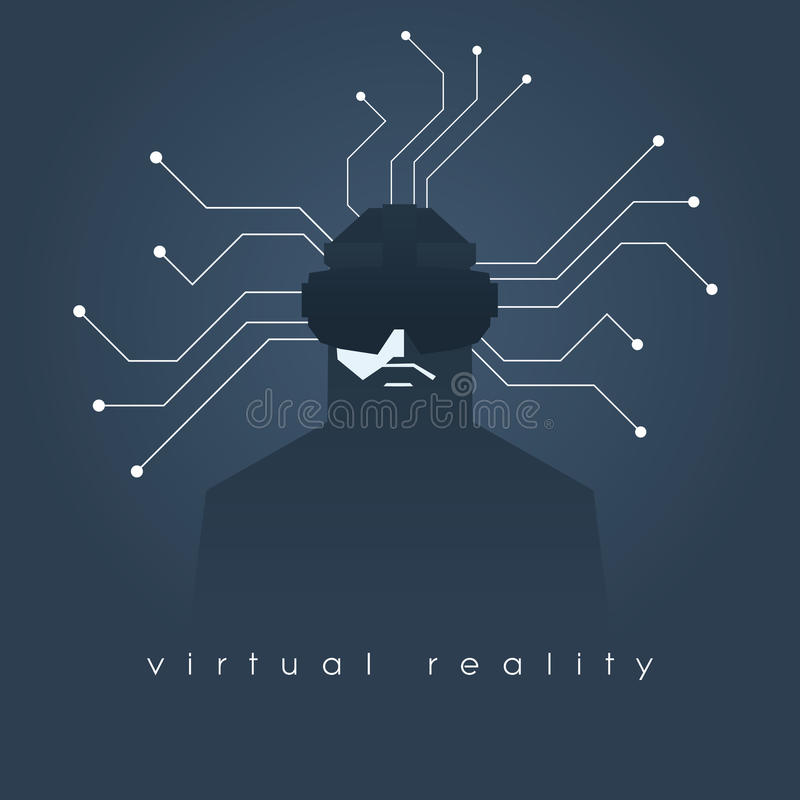 Virtual reality concept illustration with man and headset glasses. Dark background, lines as symbol of internet. Connection. Eps10 vector illustration stock illustration
