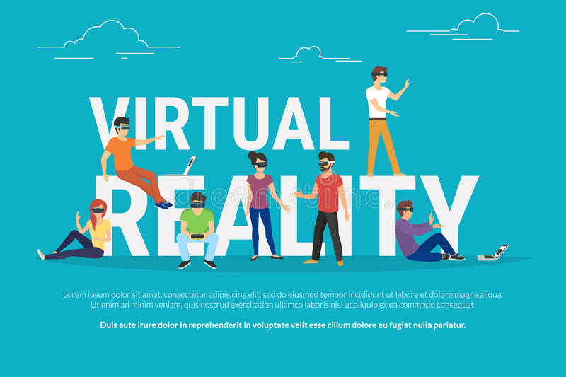 Virtual reality concept illustration. Of young various people wearing virtual reality helmet for playing game and virtual simulation. Flat design of guys and stock illustration