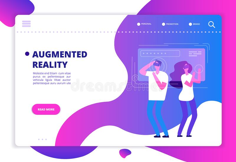 Virtual reality concept. People with vr future gadgets. Web site vector template. Vr gadget device, virtual headset for game in cyberspace illustration royalty free illustration