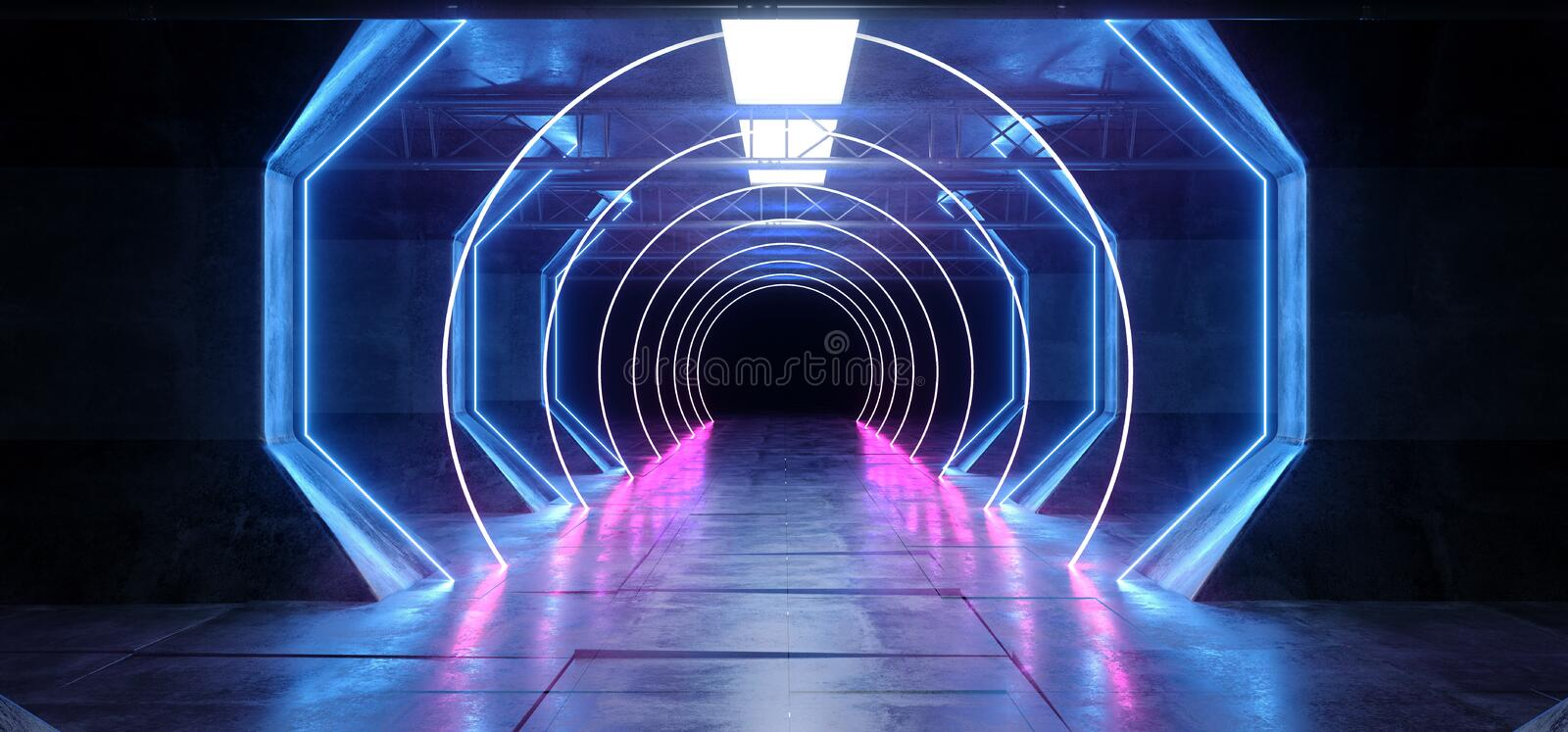 Virtual Reality Cyber Sci Fi Futuristic Neon Glowing Alien Ship Space Tunnel Corridor Glowoing Vibrant Fluorescent Laser Blue stock illustration