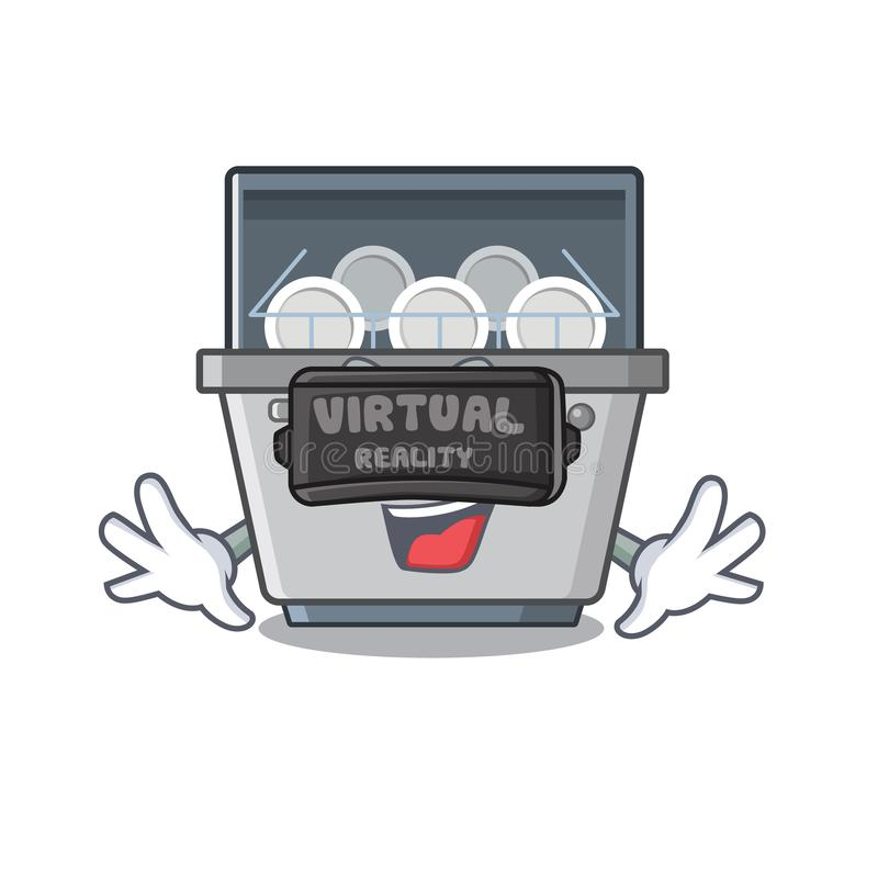 Virtual reality dishwasher machine with the character shape stock illustration