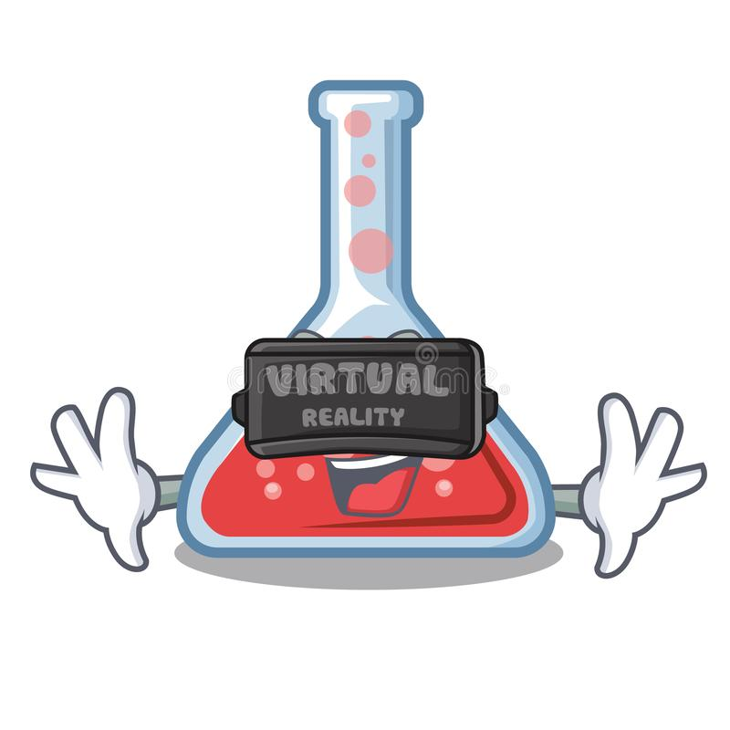 Virtual reality erlenmeyer flask above wooden cartoon table vector illustration