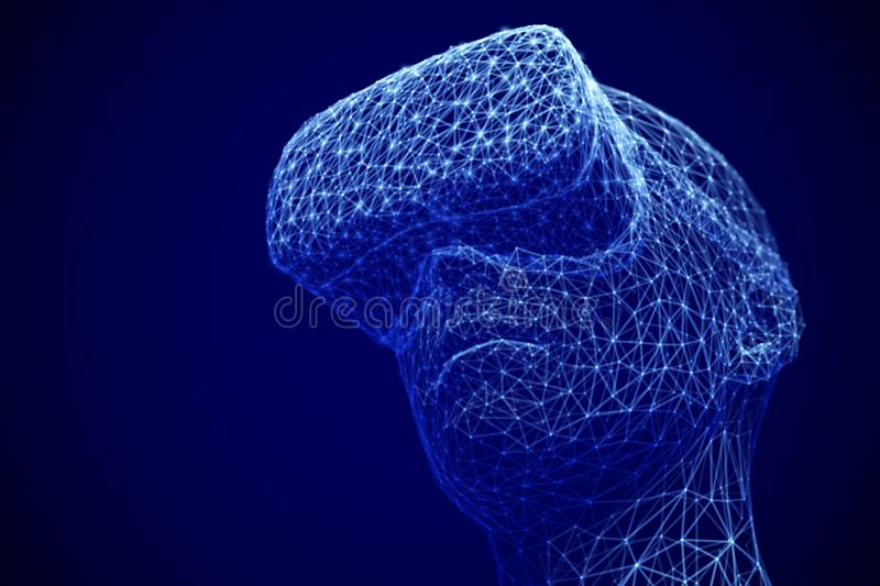 Virtual reality experience concept: man wearing virtual reality glasses. royalty free stock image