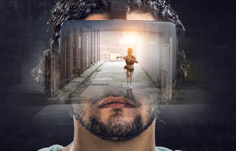 Virtual reality experience. Technologies of the future. royalty free stock photos