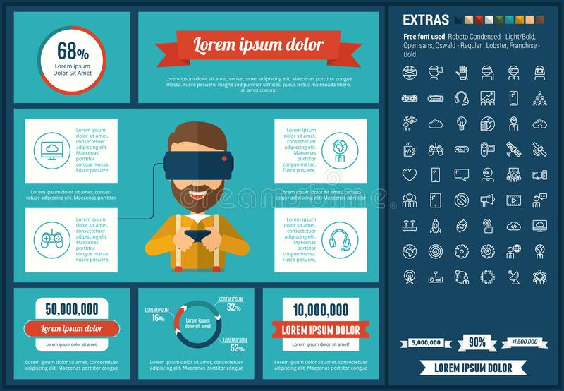 Virtual Reality flat design Infographic Template. Virtual Reality infographic template and elements. The template includes illustrations of hipster men and huge stock illustration