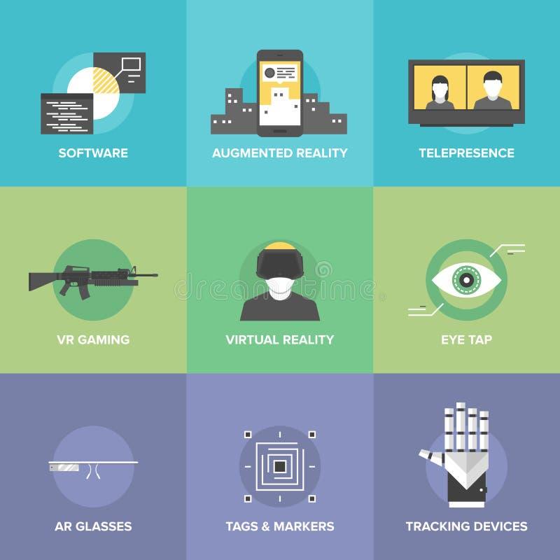 Virtual reality flat icons royalty free illustration