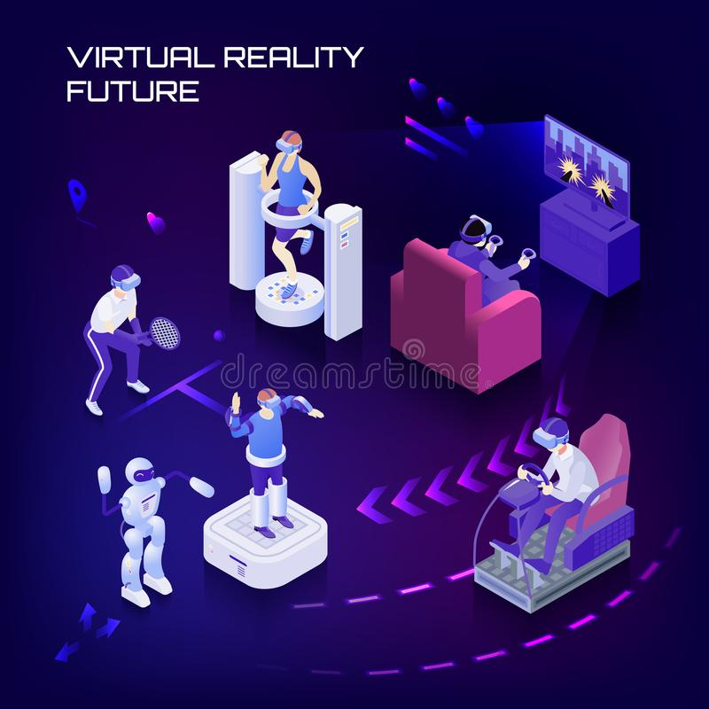 Virtual Reality Future Isometric Background royalty free illustration