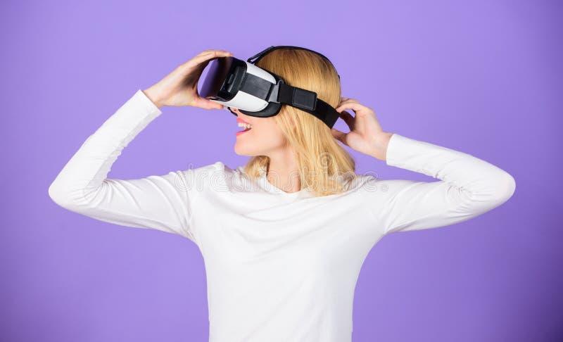 Virtual reality and future technologies. Girl use modern technology vr headset. Explore virtual reality. Digital device stock image