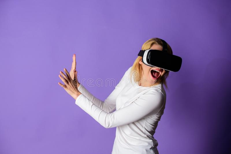 Virtual reality and future technologies. Girl use modern technology vr headset. Interact alternative reality. Digital. Device and modern opportunities. Woman royalty free stock photo