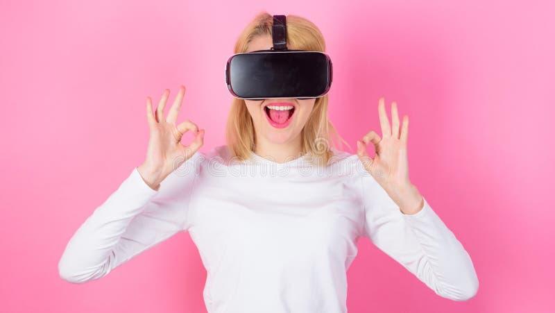 Virtual reality and future technologies. Girl use modern technology vr headset. Interact alternative reality. Digital. Device benefits. Woman head mounted stock image