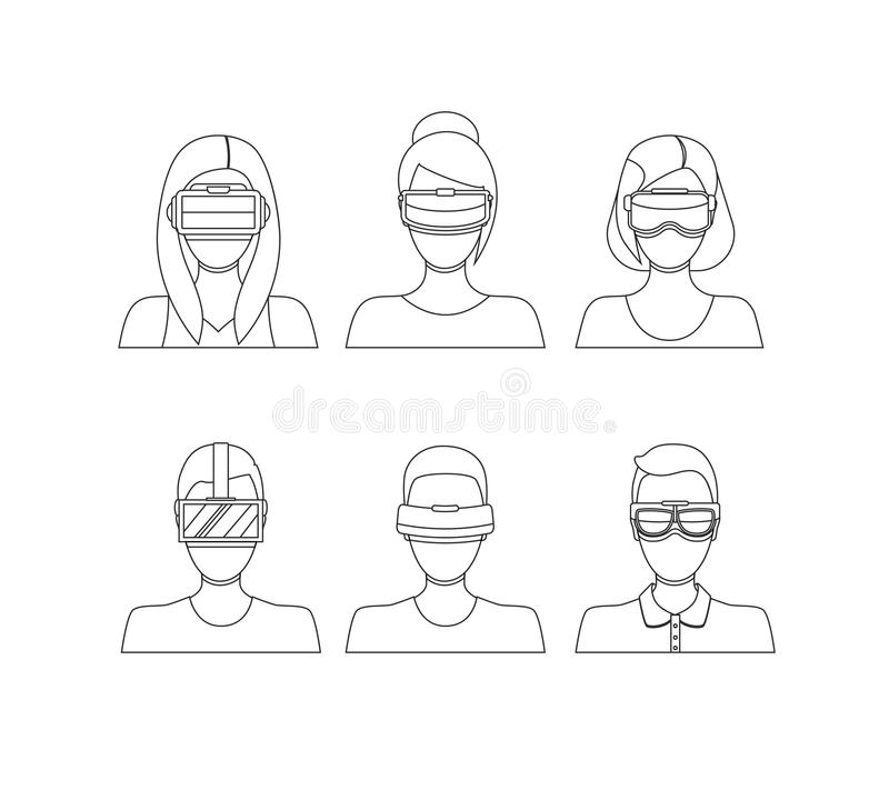 Virtual Reality Glasses Avatars Thin Line Set. Vector. Virtual Reality Glasses Avatars Thin Line Set People with Technology Equipment Flat Design Style. Vector royalty free illustration
