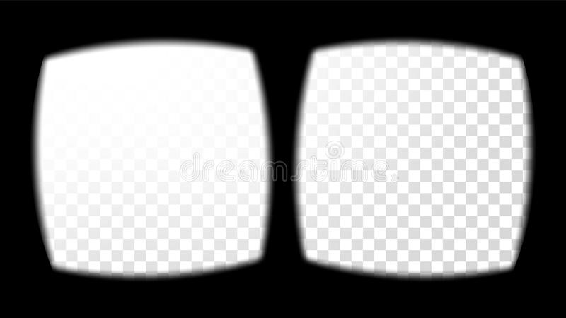 Virtual Reality Glasses Sight View Vector. Overlay On Transparent Background. Screen Frame Blank. Design 3D VR. Virtual Reality Glasses Sight View Vector royalty free illustration