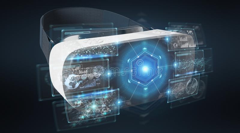Virtual reality glasses technology illustration 3D rendering. Virtual reality glasses technology illustration on dark background 3D rendering stock illustration