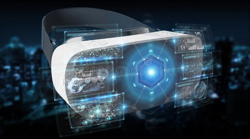 Virtual reality glasses technology illustration 3D rendering. Virtual reality glasses technology illustration on dark background 3D rendering royalty free illustration