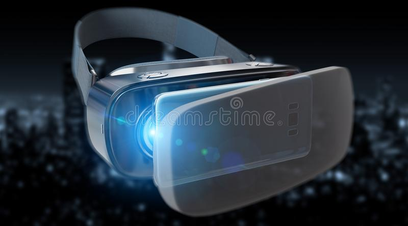 Virtual reality glasses technology illustration 3D rendering. Virtual reality glasses technology illustration on dark background 3D rendering vector illustration