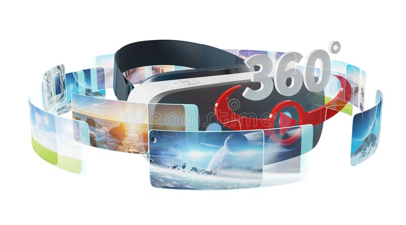 Virtual reality glasses technology illustration 3D rendering. Virtual reality glasses technology illustration on white background 3D rendering stock illustration