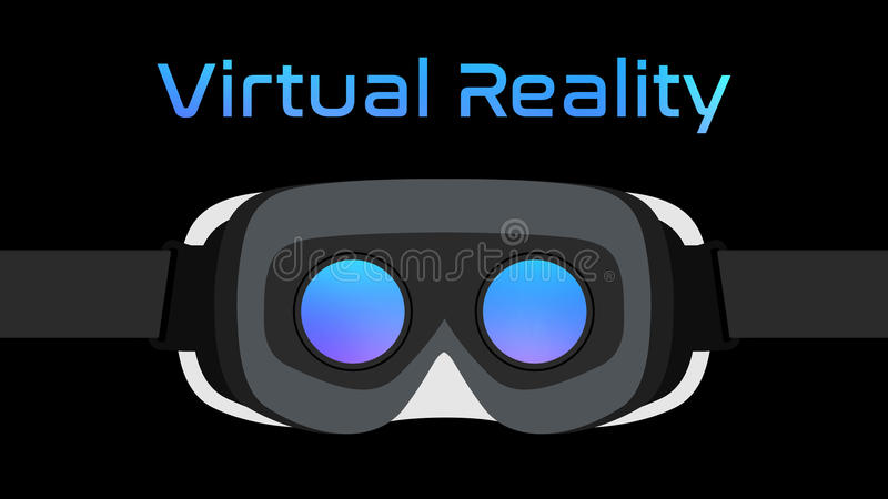 Virtual Reality Goggles VR Headset Vector Black. Simple virtual reality goggles VR Headset vector on black background stock illustration