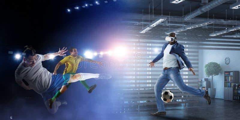Virtual Reality headset on a black male playing soccer. Mixed Media. Virtual Reality headset on a black male playing football. Mixed media stock images