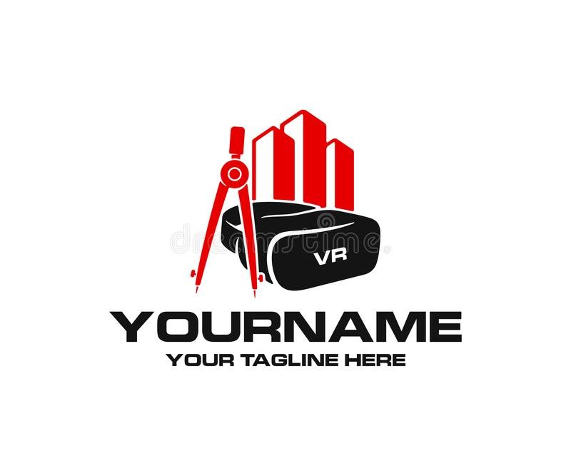 Virtual reality headset and glasses, drawing compass and property or real estate, logo design. Construction and augmented reality, stock illustration