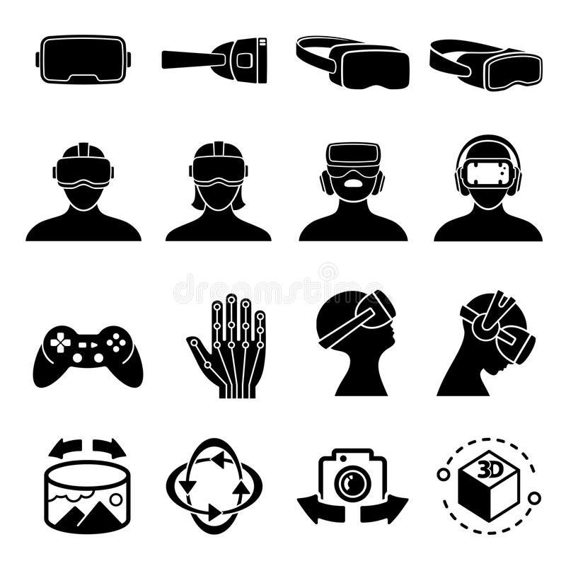 Virtual reality and headset glasses vector icons. Simulation game and vr computer sensor device symbols stock illustration