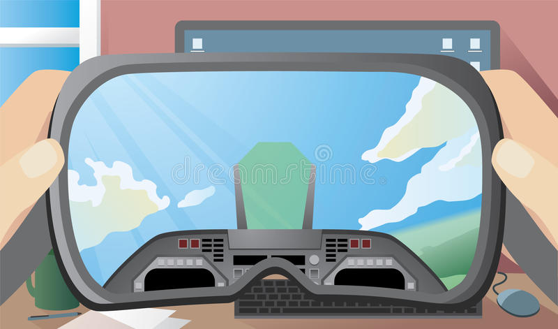 Virtual Reality Headset Showing Inside of Plane Cockpit. A person holds up a virtual reality headset in their home office. Inside the VR headset you can see a stock illustration