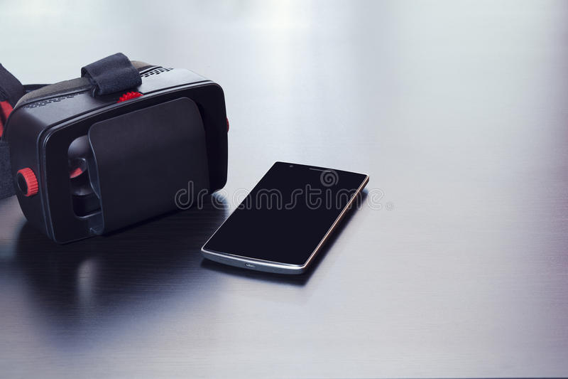 Virtual reality headset for smart phone, isolated screen royalty free stock images