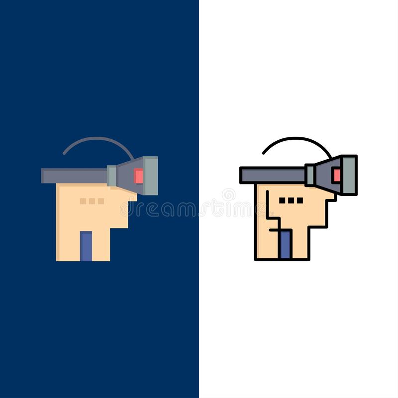 Virtual, Reality, Headset, Technology  Icons. Flat and Line Filled Icon Set Vector Blue Background stock illustration