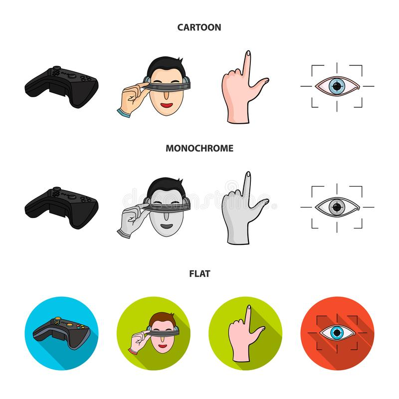 Virtual, reality, helmet, computer, technology, .Virtual reality set collection icons in cartoon,flat,monochrome style. Vector symbol stock illustration vector illustration
