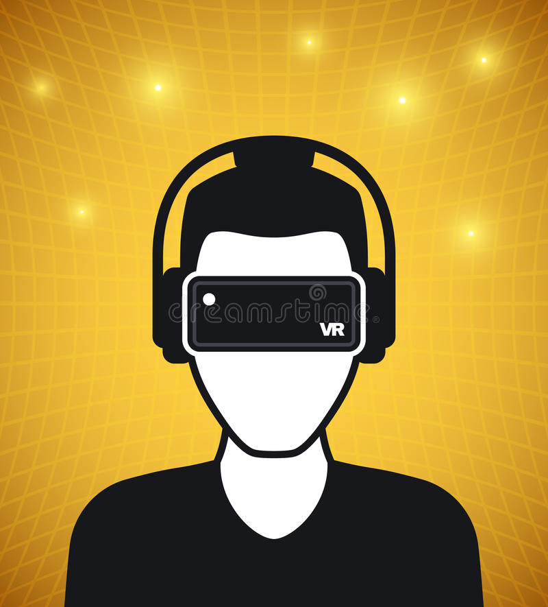 Virtual reality icon, men with glasses and headset vector illustration