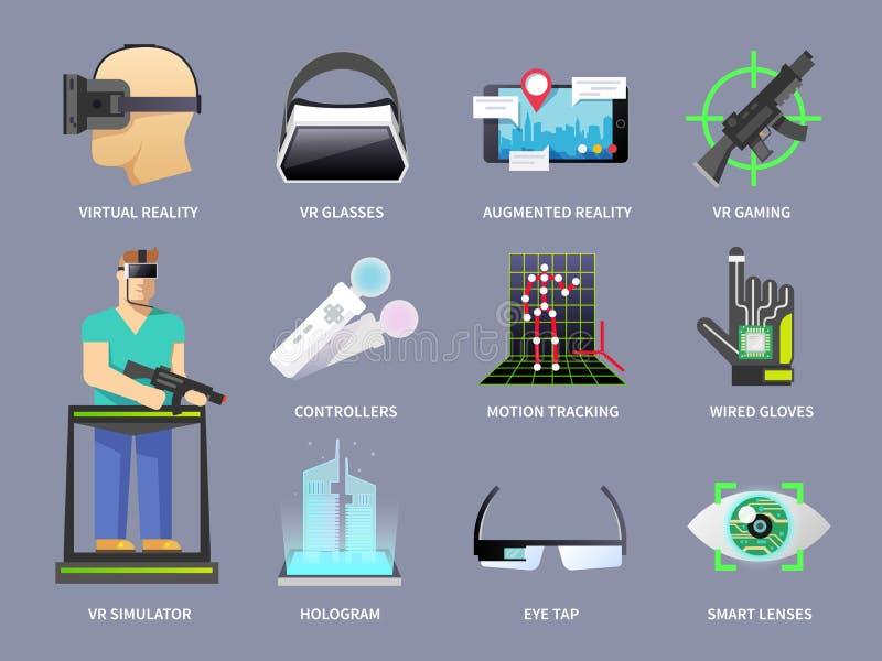 Virtual reality icons set stock illustration