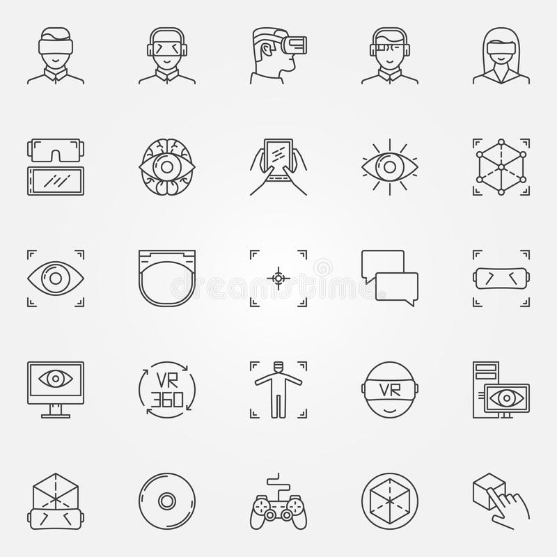 Virtual reality icons set. Vector thin line VR headset symbols and gadgets signs royalty free illustration