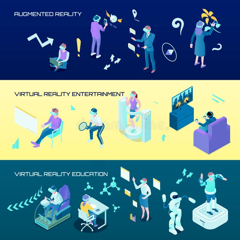 Virtual Reality Isometric Horizontal Banners vector illustration