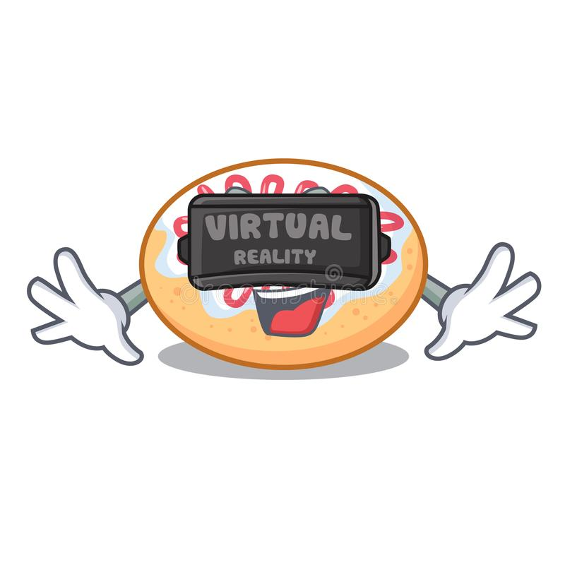 Virtual reality jelly donut mascot cartoon royalty free illustration