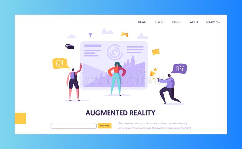 Virtual Reality landing page. Augmented reality royalty free illustration