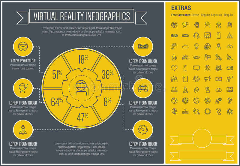 Virtual Reality Line Design Infographic Template royalty free illustration