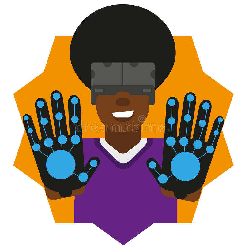 Virtual reality man gloves stock image