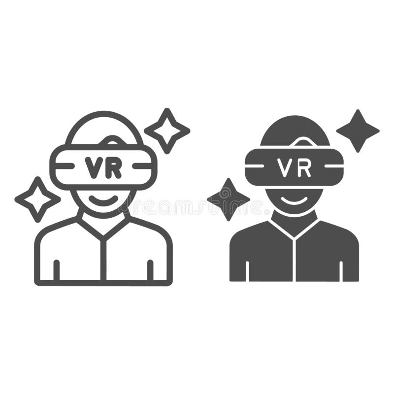 Virtual reality mask on a guy line and glyph icon. Vr glasses and man vector illustration isolated on white. Vr headset royalty free illustration