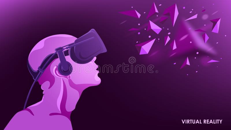 The virtual reality. Modern innovative technology. The man in the headset vr. Technical concepts. Abstract vector image. Virtual reality and modern science vector illustration