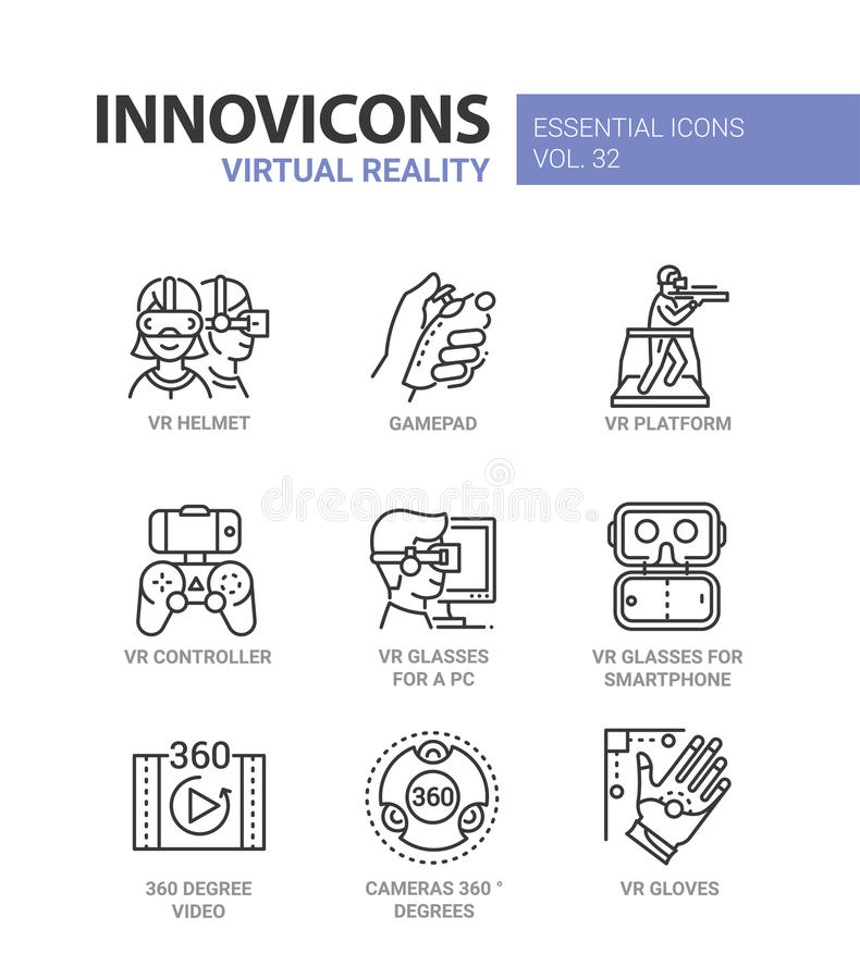 Virtual Reality - modern vector line icons set. Virtual Reality - modern color vector single line icons set. Vr helmet, gamepad, platform, controller, glasses stock illustration