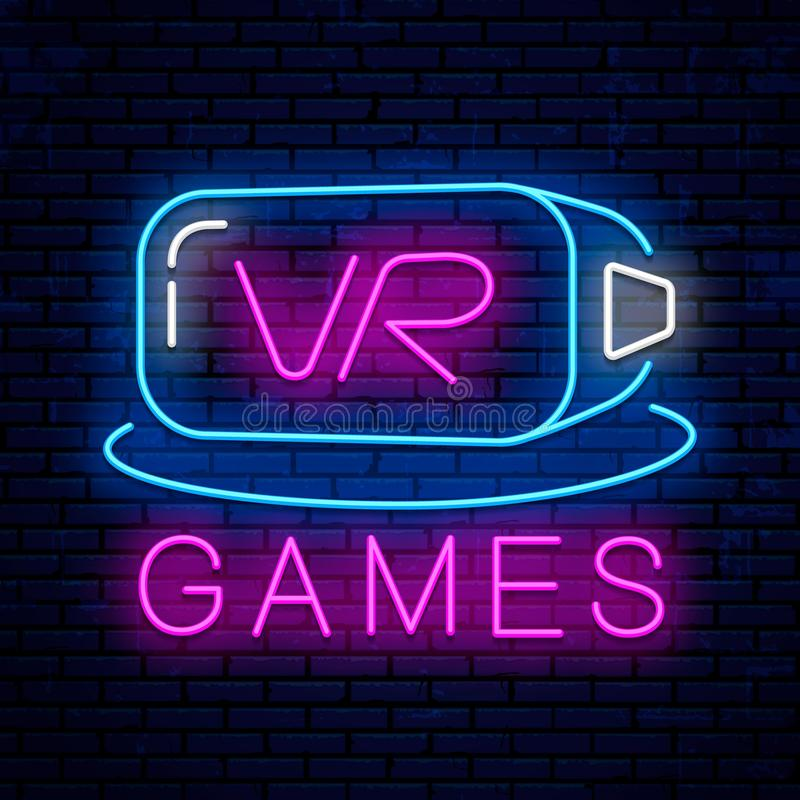 Virtual reality. Neon sign design. Neon glowing icon royalty free illustration