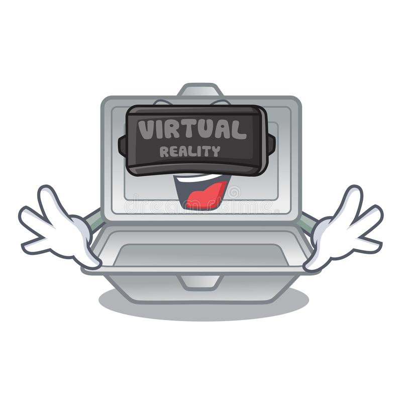 Virtual reality open styrofoam in the character box. Vector illustration vector illustration