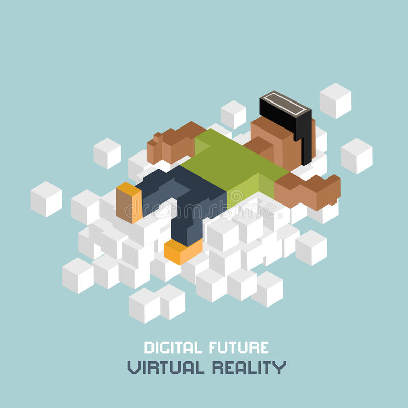 Virtual reality relaxation on cloud, black man in VR glasses, advertising concept. Cubes composition isometric vector illustration.  stock illustration