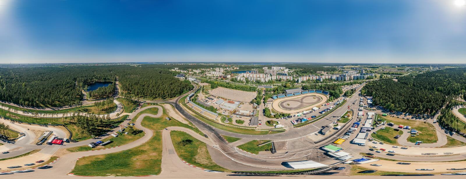 Bikirnieki Racing track in Riga city an Block of flats 360 VR Drone picture for Virtual reality, Street Panorama royalty free stock image