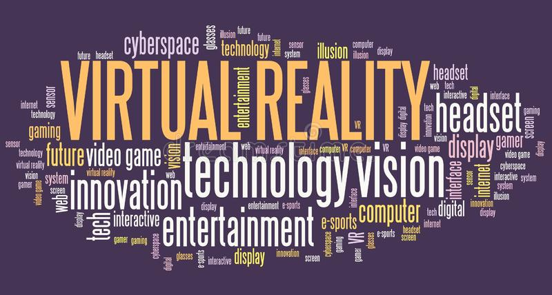 Virtual reality sign. Virtual reality tech concept - VR word cloud royalty free illustration